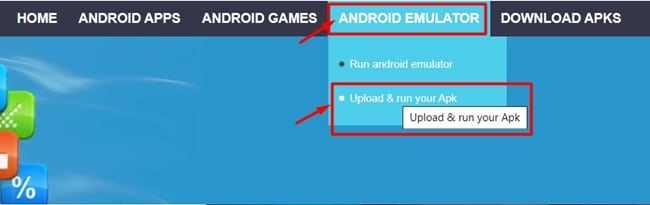 Chọn Upload & Run your apk